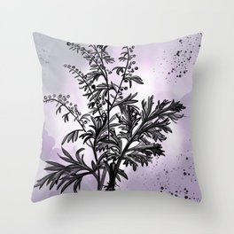 Wormwood Botanical Illustration Throw Pillow