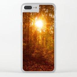 Autumn Sunset Through the Trees Rural Landscape Photo Farmhouse Art Clear iPhone Case