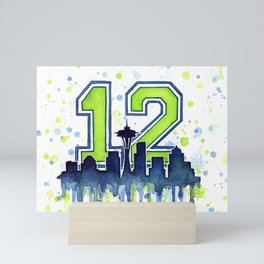 Seattle 12th Man Art Skyline Watercolor Mini Art Print