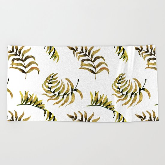 Exotic Gold Palm Leaves Pattern on #Society6 Beach Towel