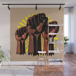 Black Power Raised Fists Wall Mural