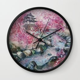 Cherry blossom (Watercolor painting) Wall Clock