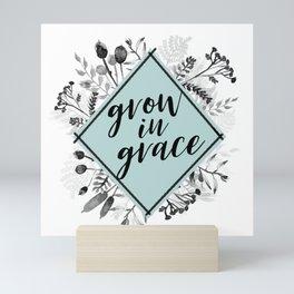 Grow in Grace Watercolor Floral Mini Art Print