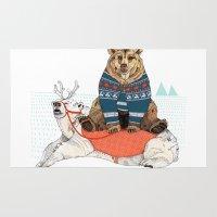 bear Area & Throw Rugs featuring Bear Sleigh by Sandra Dieckmann