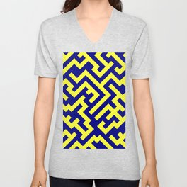 Electric Yellow and Navy Blue Diagonal Labyrinth Unisex V-Neck
