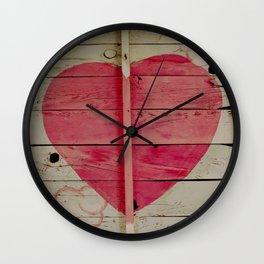 Pink Heart Graffiti  Wall Clock