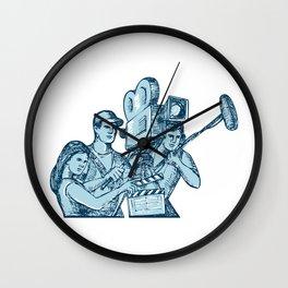 Film Crew Clapperboard Cameraman Soundman Drawing Wall Clock