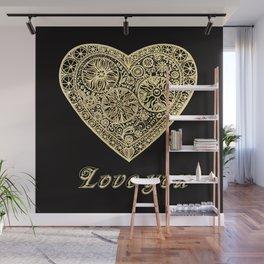 golden heart I love you Wall Mural