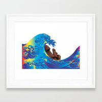 hokusai Framed Art Prints featuring Hokusai Rainbow & Moai by FACTORIE