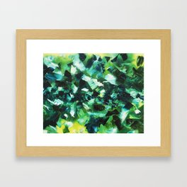 Yellow, Blue and Green Abstract Painting Framed Art Print