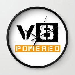 V8 powered yellow Wall Clock