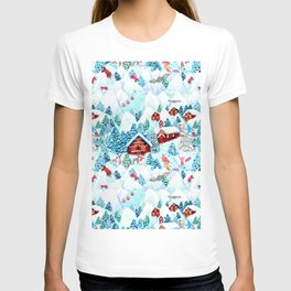 Alpine Chalets with reindeer, owls and snow (watercolor) T-shirt