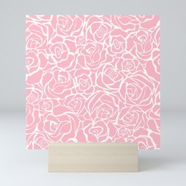 Traditional Pink Rose Floral Print Mini Art Print