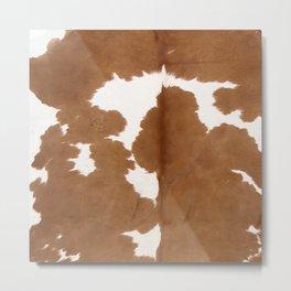 Tan and white cowhide texture Metal Print