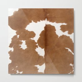 Tan and white cowhide texture Metal Print