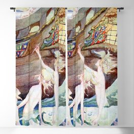 """Little Mermaid Sisters"" by Anne Anderson Blackout Curtain"