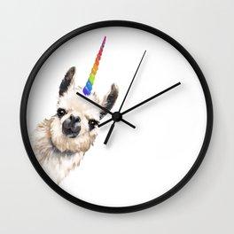 Sneaky Unicorn Llama White Wall Clock