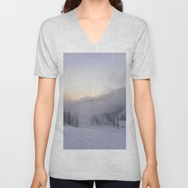 Natural and snow cannon mist in the morning Unisex V-Neck