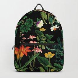 Vintage wild flowers black Backpack