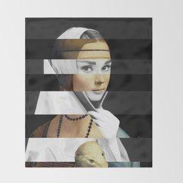Leonardo da Vinci's Lady with a Ermine & Audrey Hepburn Throw Blanket