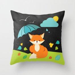 Fox on  Black Chalkboard , Nursery decor Throw Pillow