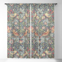 Strawberry Thief by William Morris 1883 Antique Vintage Pattern CC0 Spring Summer Sheer Curtain