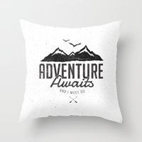Throw Pillows featuring ADVENTURE AWAITS by magdam