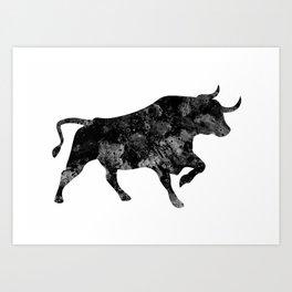 Bull Black and White Art Gift Wildlife Animal Art Ox Art Bull Riders Gift Art Print