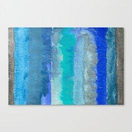 Blue Original Watercolor Stripes Painting Canvas Print