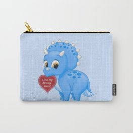 Cute Blue Baby Triceratops Red Love Mommy Heart Carry-All Pouch