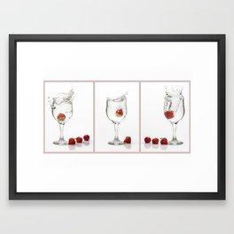 Strawberry Splashes Framed Art Print