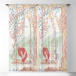 Vibrant Jungle Fox Sheer Curtain