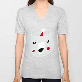 Cute holiday bear blue Unisex V-Neck