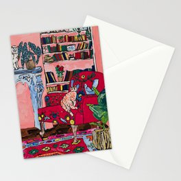 Ginger Cat in Embroidered Red Armchair with Staffordshire Spaniel in Book-Lined Room Interior Painting Stationery Cards