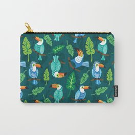 Toucans with jungle leaves Carry-All Pouch