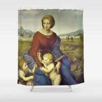 madonna Shower Curtains featuring Madonna of the Meadows by Raphael by Palazzo Art Gallery