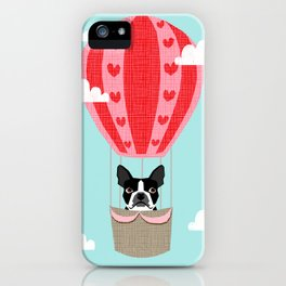 Boston Terrier dog breed hot air balloon dog art iPhone Case