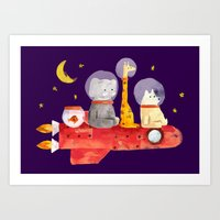 Art Prints featuring Let's All Go To Mars by Picomodi