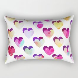 Watercolor painted hearts Rectangular Pillow
