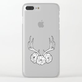 Deer vs Flowers Clear iPhone Case
