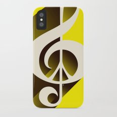Yellow Retro Shadow Music & Peace iPhone X Slim Case