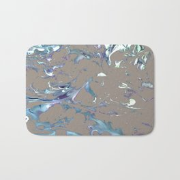 Greige, Gray, Beige, Teal, Navy and Purple Abstract Bath Mat