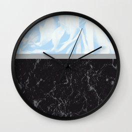 Light Blue Flower Meets Gray Black Marble #3 #decor #art #society6 Wall Clock