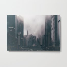 Chicago Shrouded in Fog Metal Print