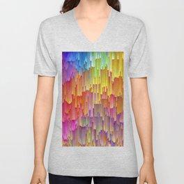 Vibrant Rainbow Cascade Design Unisex V-Neck