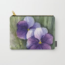 Purple Pansies Watercolor Flowers Painting Violet Floral Art Carry-All Pouch