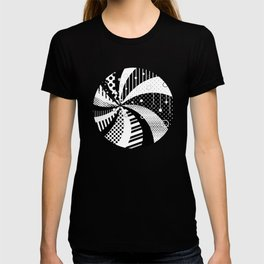 B/W Stripes and Polka Dots Graphic Art T-shirt