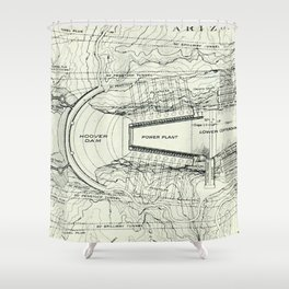 Vintage Map of The Hoover Dam (1930) Shower Curtain