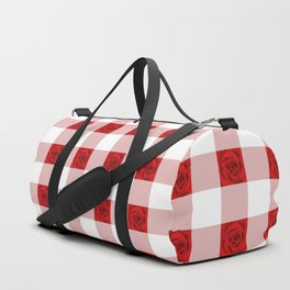 Red Rose Check Pattern Duffle Bag