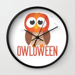 owl Halloween Owloween pumpkin head and bats Wall Clock